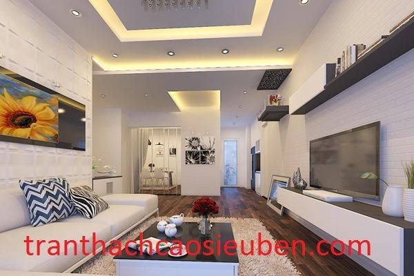 Mẫu trần phòng khách phổ biến nhà ống