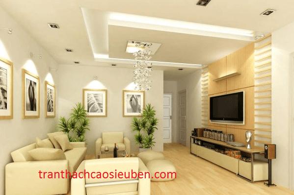 Mẫu trần thạch cao phòng khách cho nhà chung cư