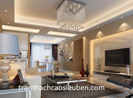 Mẫu trần thạch cao phòng khách liền bếp nhà ống đẹp 2021