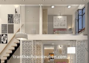 Mẫu trần thạch cao phòng khách cho nhà gác lửng đẹp