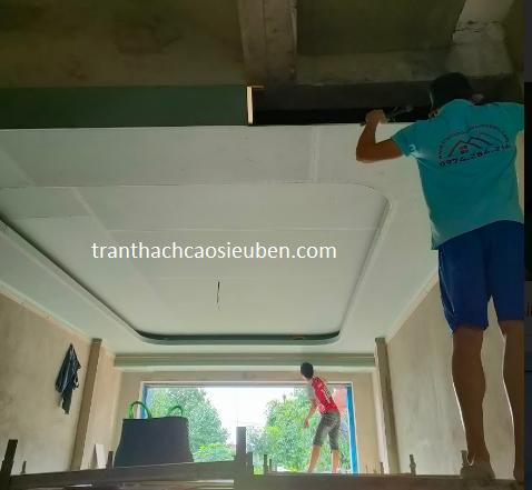 Thi công trần thạch cao phòng khách tại Diễn Châu