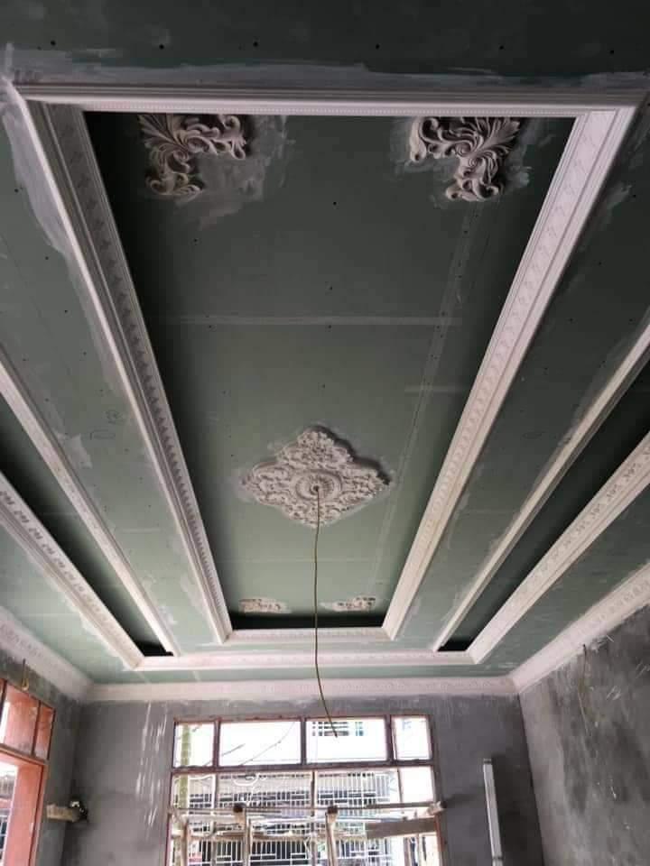 Mẫu trần thạch cao giật cấp áp dụng cho phòng khách 1