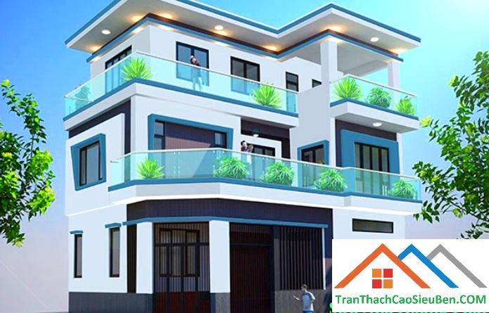 Màu sơn nhà mặt tiền màu xanh da trời